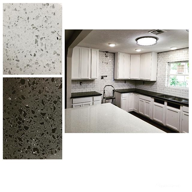 Iced White And Sparkling Black Quartz Countertops With Subway Tile